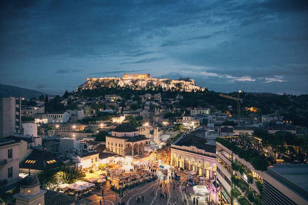 cladiri iluminate noaptea, arhitectura, atene, cladire, oras, peisaj urban, Europa, seara