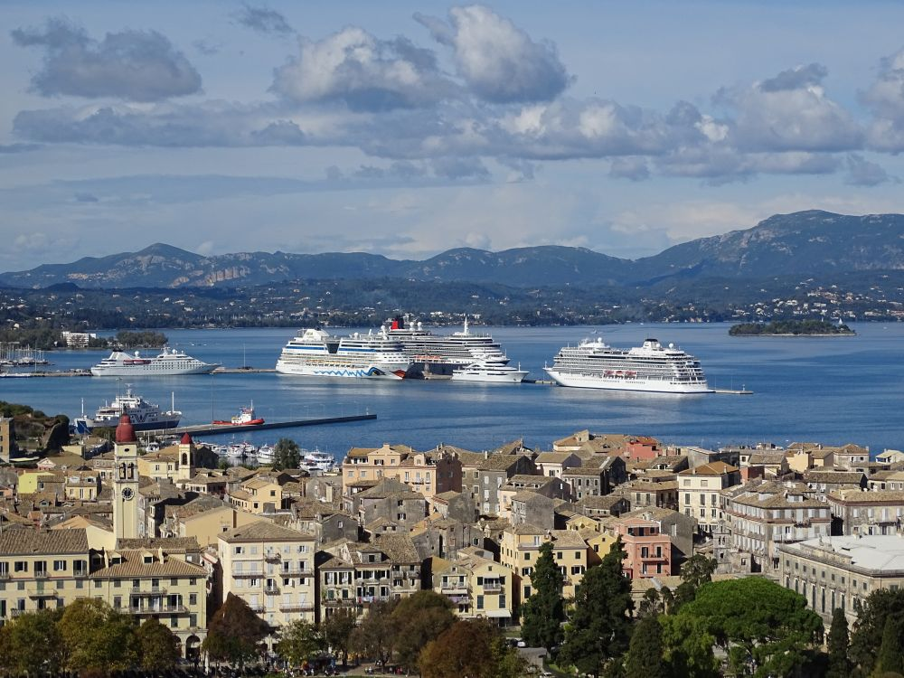 corfu, oras, mare, port, nava nautica, transport, apa, arhitectura