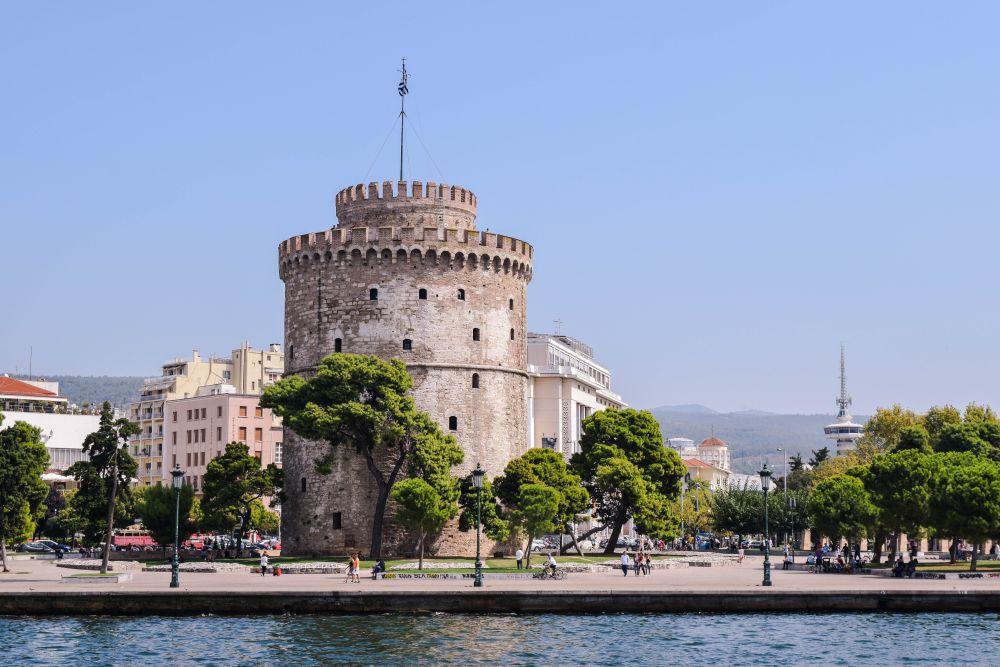 maro, beton, turn, verde, copaci, Grecia, Salonic, saloniki