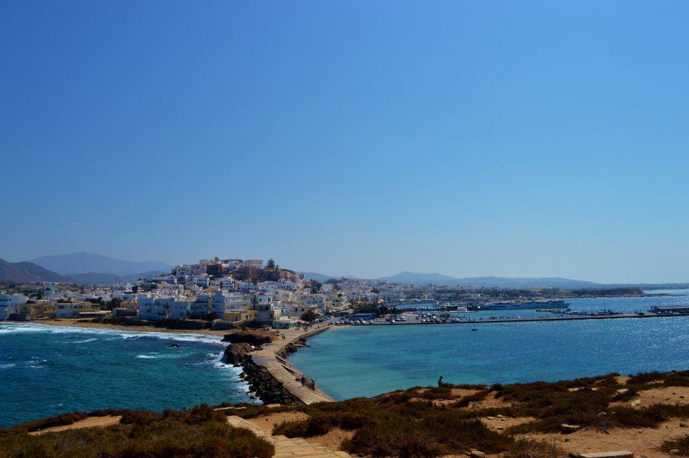 peisaj urban, corp, apa, zi, oras naxos, Grecia, naxos, ciclade